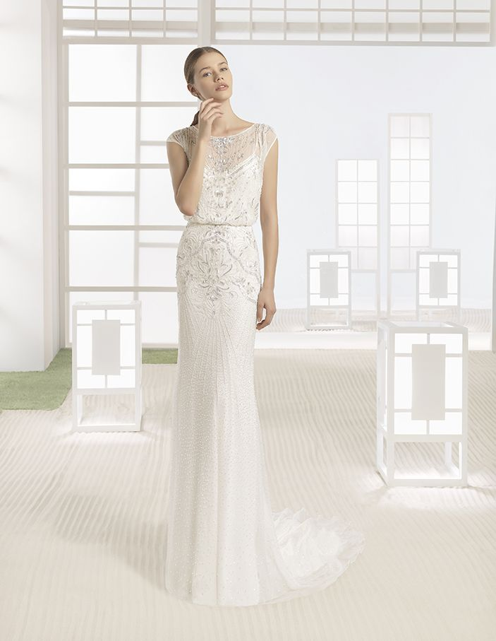 Wimor - Dress and lightweight beaded bloused silk chiffon overlay, in natural/silver and ivory.