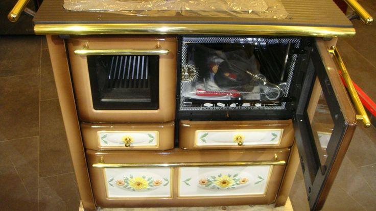 LINCAR AURORA 148 VL - Kuchyňský sporák na tuhá paliva, barva avorio/beige