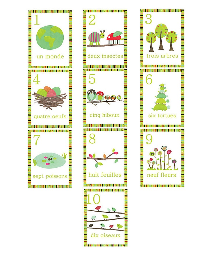 Children Inspire Design French Numbers Wall Card Set