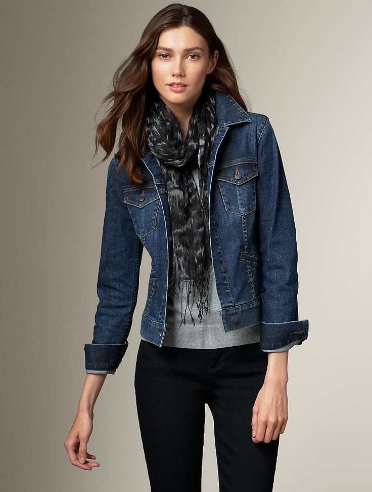 Love a scarf with a structured jacket! Katie wears it sooooo well. Found on talbots.com