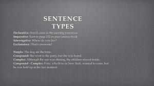 Learn six common sentence patterns in English: Sentence Types