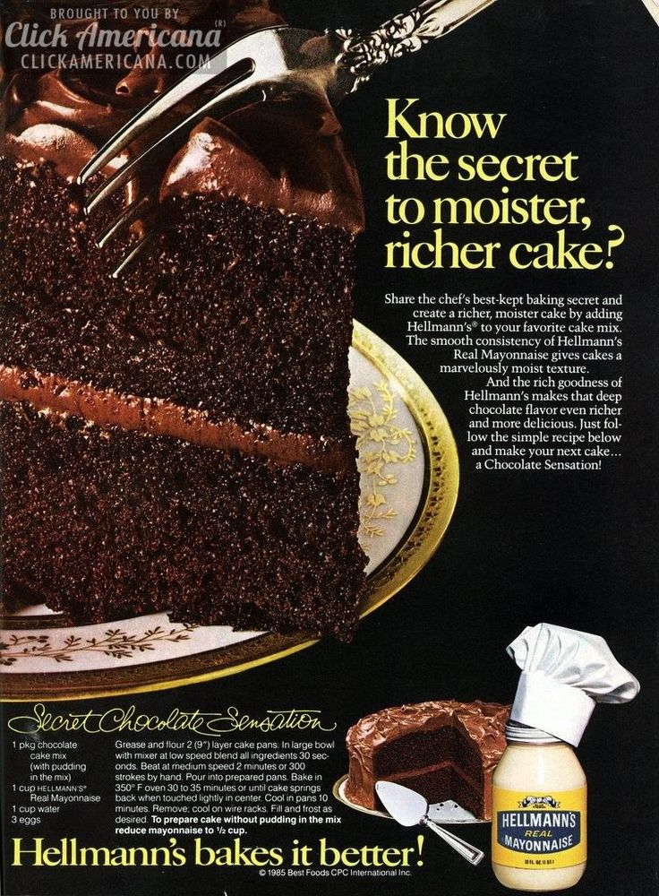 Know the secret to moister, richer cake? Share the chef's best-kept baking secret and create a richer, moister cake by adding Hellmann's to your favorite cake mix. The smooth consistency of Hellman's real mayonnaise gives cakes a marvelously moist texture. Secret Chocolate Sensation cake recipe Ingredients 1 package chocolate cake mix (with pudding in the …