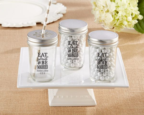 Personalized Printed Mason Jar – Eat, Drink & Be Married (Set of 12)