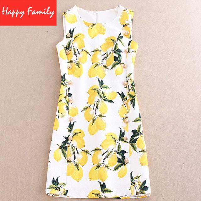 Women Lemon Dress 2016 Spring New Runway Brand Yellow Straight Sleeveless O-neck Above Knee Mini Beading Print Slim Cute Dress US $55.44 /piece CLICK LINK TO BUY THE PRODUCT  http://goo.gl/oYWEYs