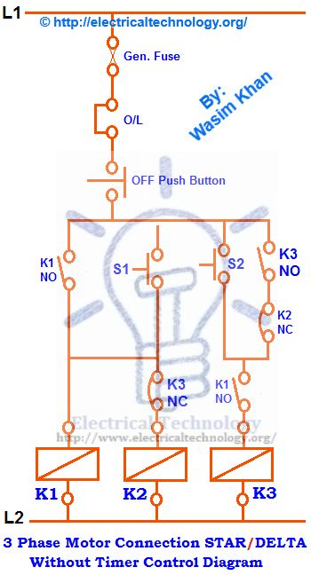 star delta wiring diagram motor 1990 honda accord fuel pump three phase connection without timer power control diagrams pinterest electrical circuit