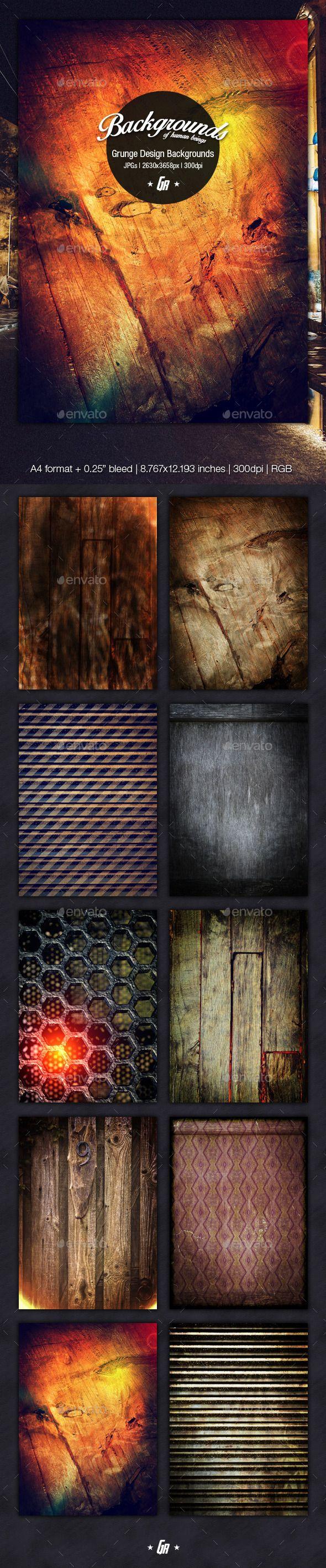 Grunge Design Backgrounds - A4 (high resolution backgrounds, 300dpi)