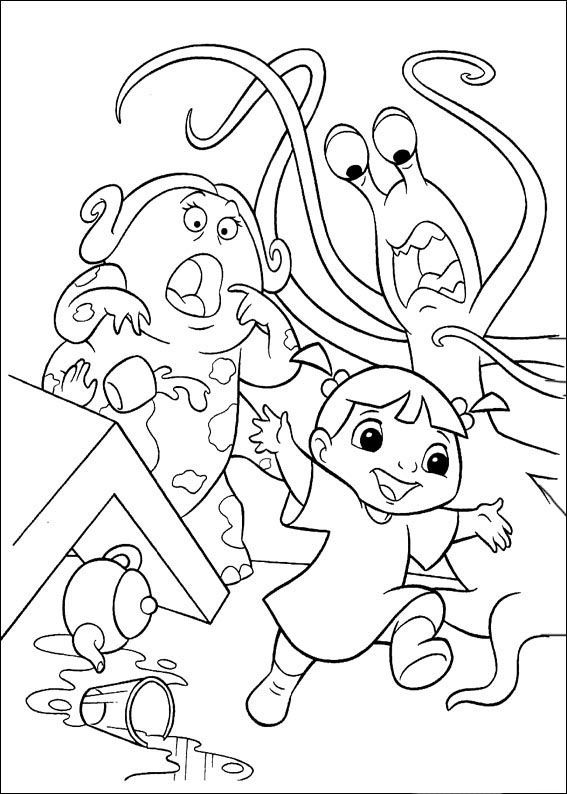 monsters inc boo is discovered in the restaurant coloring page