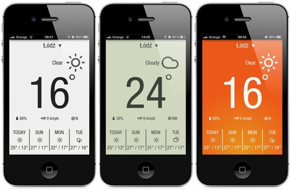 minimalist weather app for iPhone