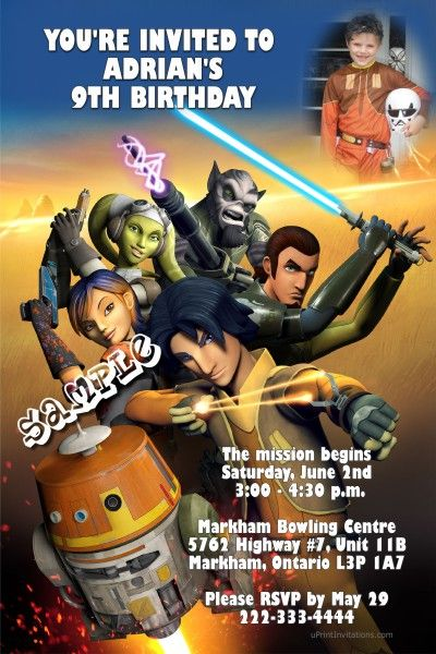 Star Wars Rebels Birthday Invitations - Digital Download - Get these invitations RIGHT NOW. Design yourself online, download JPG and print IMMEDIATELY! Or choose my printing services. No software download is required. Free to try!