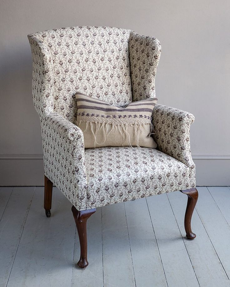 1920u0027s queen anne style wing chair covered in linen roseu0027 thimble print from
