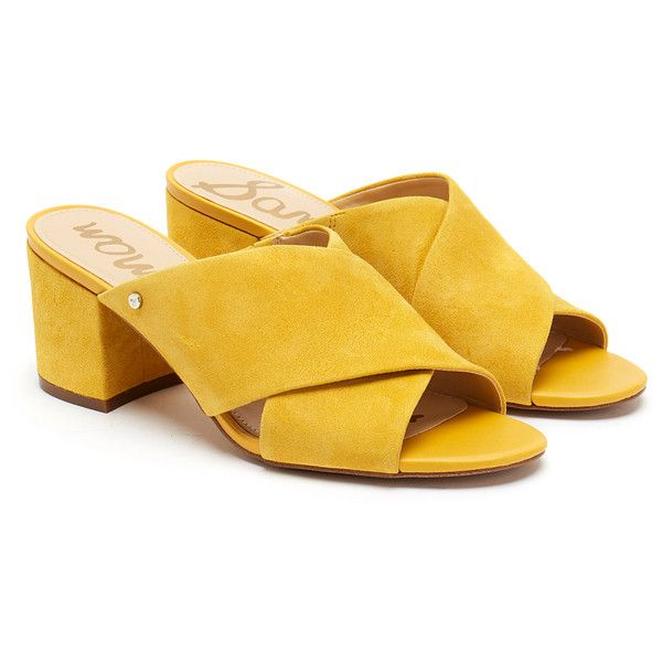 Sam Edelman Stanley Sunset Yellow Suede Mules ($64) ❤ liked on Polyvore featuring shoes, yellow, open toe shoes, yellow shoes, open-toe mules, suede slip on shoes and strap shoes