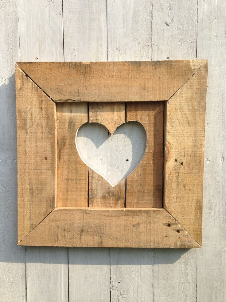 Pallet love heart picture frame