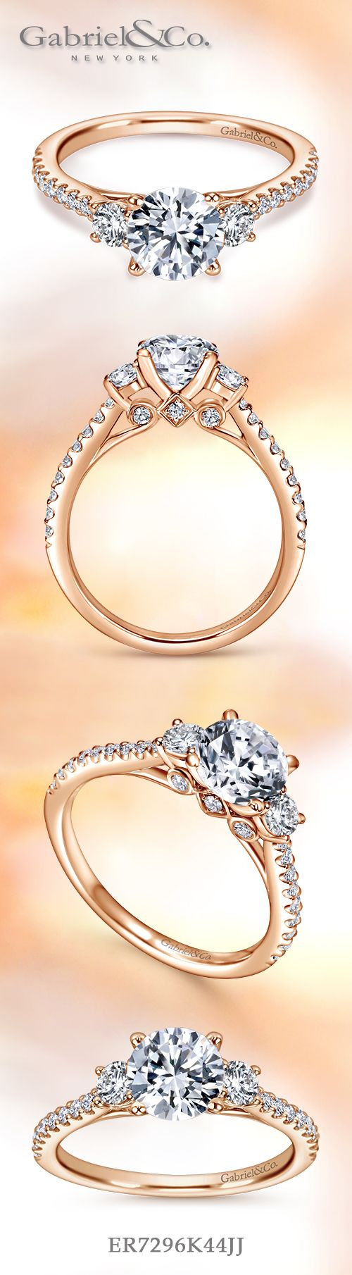 Gabriel & Co. - Voted #1 Most Preferred Bridal Brand.   Round diamonds adorn the band and gallery of this rose gold engagement ring.