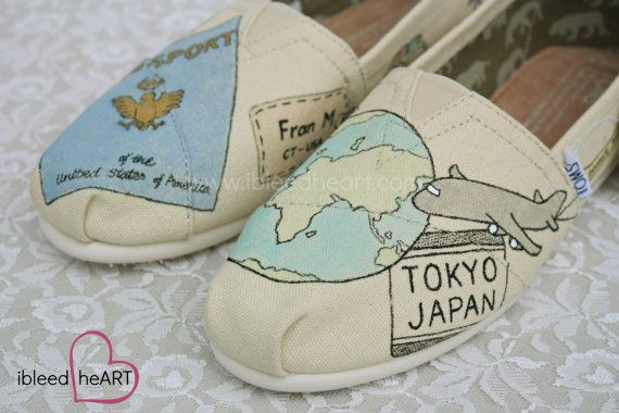 Wanderlust Adventure Travel Custom Painted TOMS Shoes  This custom painted design was inspired by travel and adventure and feature many common elements of travel; Globe, plane, passport stamps, suitcases, compass, luggage tag, camera, and postcards. These can be customized to fit your needs, including custom locations on the passport stamps, and name on the luggage tag. Please leave your custom requests in the notes to seller section of the purchase process. If you have another subject…