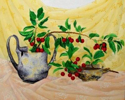 Wild Cherries & Antiquitie50x60cm. watercolor