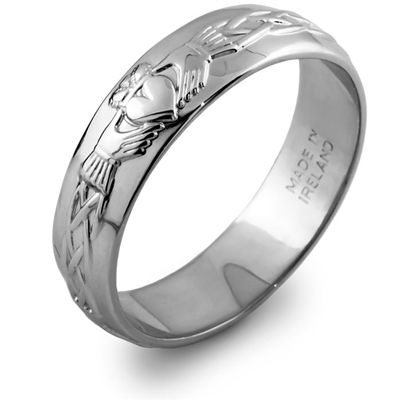 Mans Sterling Silver Claddagh Wedding Ring MS-RS42