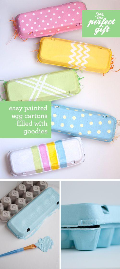 Easy Painted Egg Cartons Filled W/ Goodies! (Cajitas de regalo con cartones de huevos)
