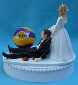 Wedding Cake Topper Los Angeles Lakers LA Basketball Themed w/Garter, Topper Box