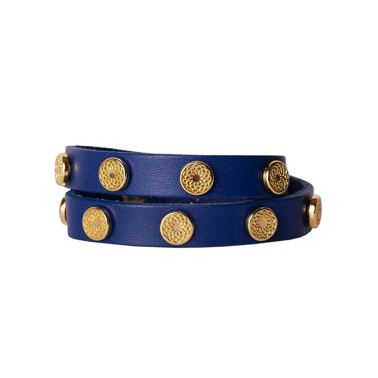Featuring royal blue leather and gold studs imprinted with the South Hill Signature Flower, this wrap bracelet is perfectly on trend.  Product Material - Genuine leather with Zinc Alloy studs