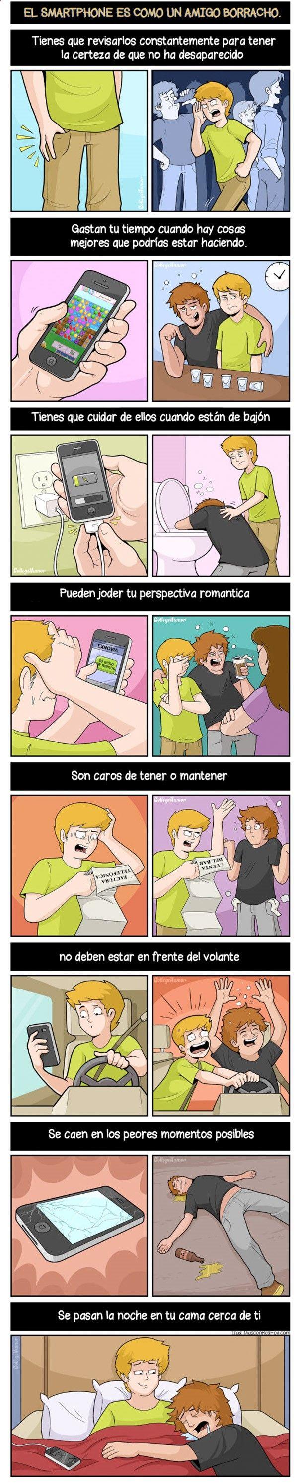 El smartphone es como un amigo borracho. #humor #risa #graciosas #chistosas #divertidas