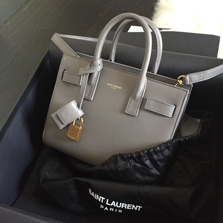 We're majorly coveting this gray YSL bag.