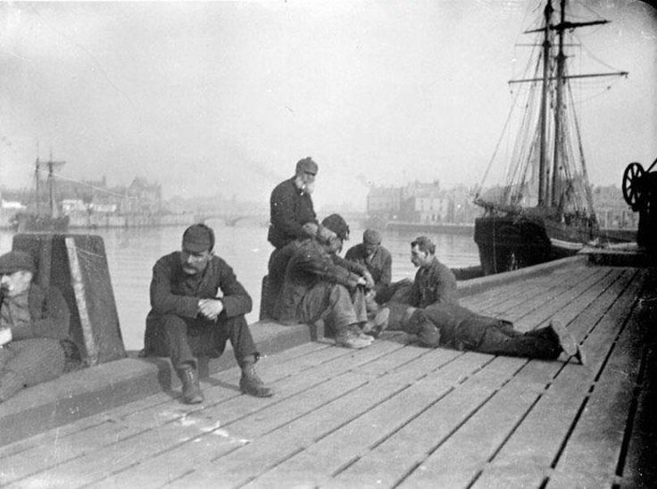 The Quayside at Ayr Harbour is a gathering place for these men in the 1890's