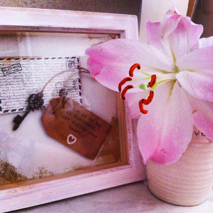 Homemade box frame with fresh lilies! #lilies #handmade #art #freshhome