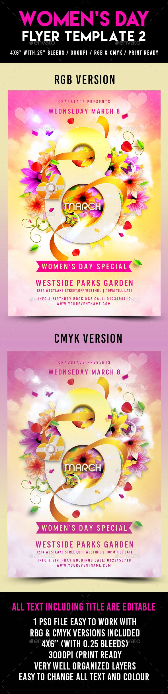 Women's Day Flyer Template PSD