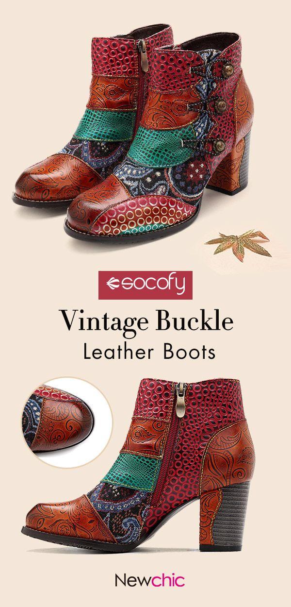 9145c64b851 US$ 75.40】SOCOFY Vintage Buckle Genuine Leather Splicing Zipper ...
