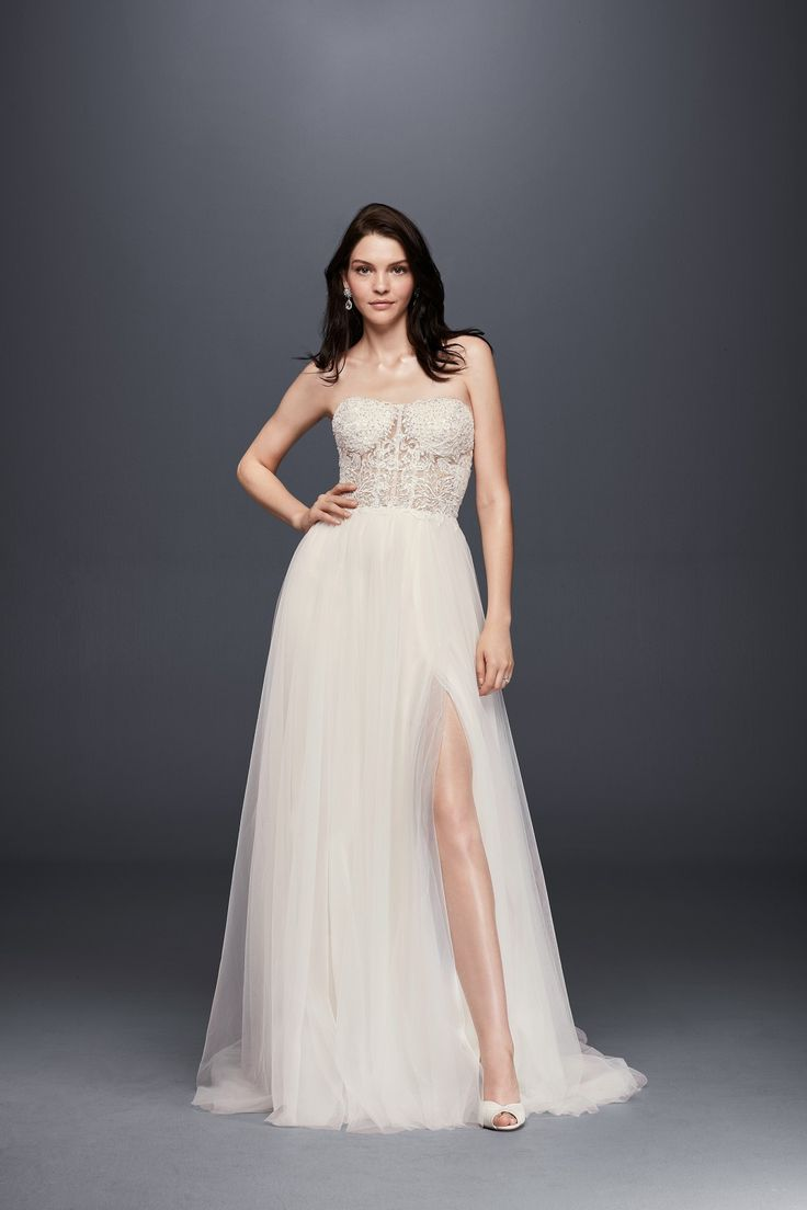 Strapless Bustier-style Illusion Bodice with Tulle Slit Skirt A-line Wedding Dress by Galina Signature available at David's Bridal
