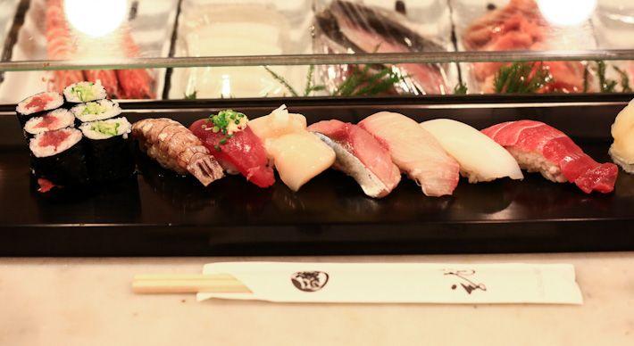 ✖ Ryu Sushi / sushi breakfast at the world famous Tsukiji Fish Market.  It has super good and fresh sashimi and sushi at decent prices. The Kiku Sushi Set (¥2,100) comes with 7 pieces of sushi, and 6 pieces of sushi rolls, and a beautiful Chirashi (¥3,100). 5-2-1, Building 1. Chuo-ku Tsukiji Market, Tokyo Tel: +81 03 3541 9517 Nearest Station: Tsukiji/Tsukijishijo Japan