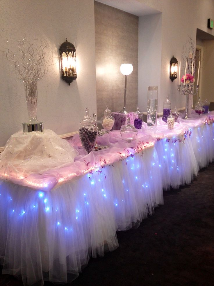 Mantel tul con guirnaldas de luces lights table rosa pink tul tutu Candy bar station for Quinceanera