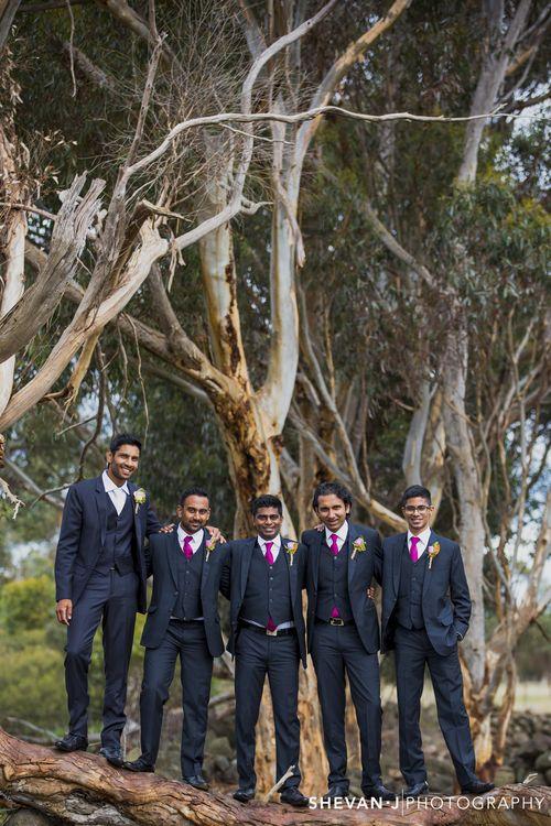 Puba + Devin: Vintage Sri Lankan Wedding in Melbourne by Shevan J Photography - groomsmen wearing magenta ties - Sri Lankan wedding - Sri Lankan bride - Sri Lankan groom #thecrimsonbride
