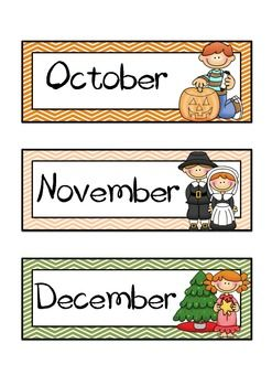 THEMED MONTHS OF THE YEAR FLASHCARDS AND HEADERS (CHEVRON BACKGROUND) - TeachersPayTeachers.com
