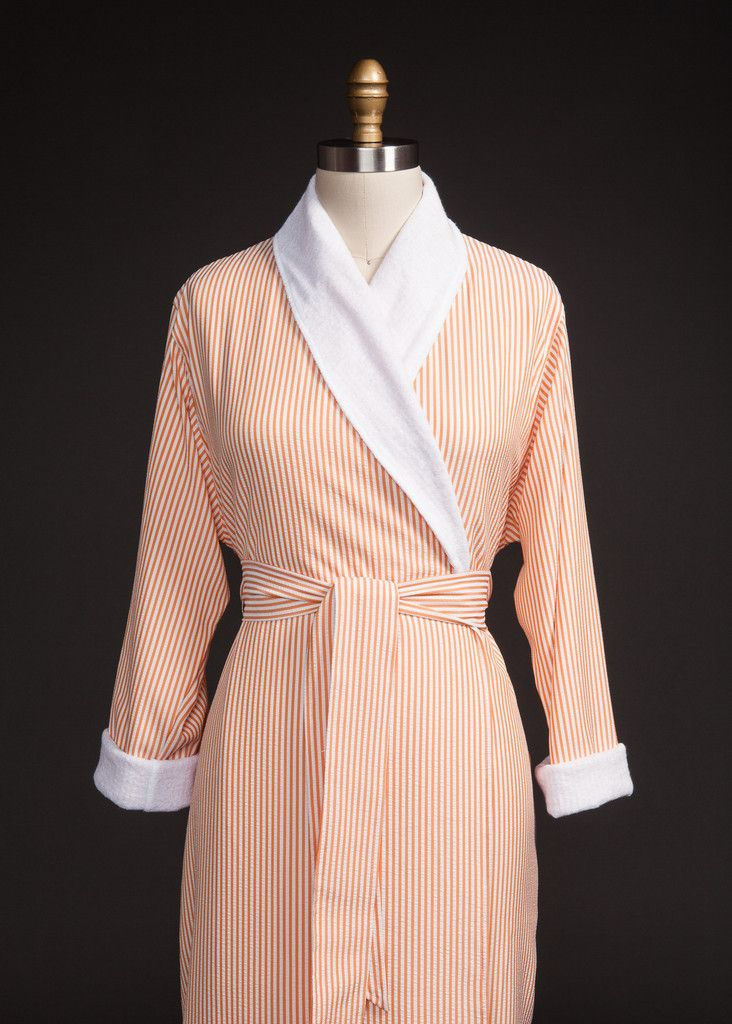 Persimmon Seersucker Double Layer Robe Luxury Spa