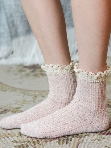 Blush Socks with Ivory Ruffle Fits Shoes from 4 - 9 80% Cotton 20% Nylon