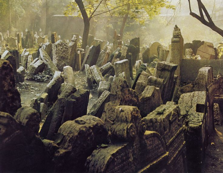 """The Old Jewish Cemetery, Josefov, the Jewish Quarter of Prague. """"t was in use from the early 15th century (the oldest preserved tombstone, the one of Avigdor Kara, dates back to 1439) until 1787.... it has been estimated that there are approximately 12,000 tombstones presently visible, and there may be as many as 100,000 burials in all."""" (http://en.wikipedia.org/wiki/Old_Jewish_Cemetery,_Prague)"""