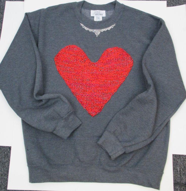 Sweatshirt with handknit tweed heart and chandelier trim. #glam #cozy #nyfw www.jamiekreitman.com