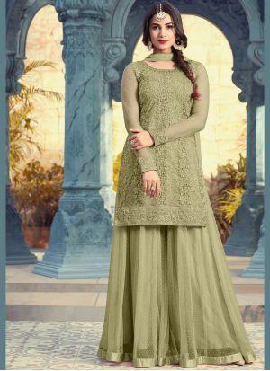 01cf56cd47 Dignified Green Embroidered Work Net Palazzo Salwar Kameez #sharara  #shararasuits #designers #indianfashion #indianwear #salwarsuit  #salwarkameez