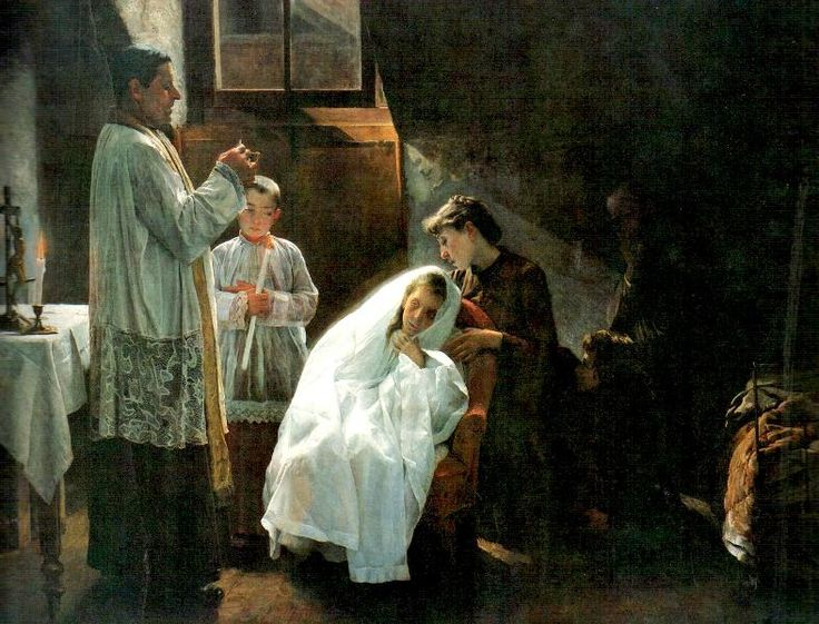 This powerful painting by Cristobal Rojas shows a dying little girl who can not make it to church for her First Communion so the priest has brought Jesus to her. The viewers sees that the little one probably will not recover and this is not only her very first Communion but it is Food for her journey to Heaven as well. Dymphna's Road