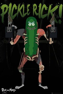 Science's most horrific and unnerving creation: Pickle Rick. Formed of rat body part, make-shift weapons, and other stuff we probably don't want to know about... Prepare for a sewage system rampage with mad scientist Rick with this poster from the hit Adult Swim TV show. Official merchandise.