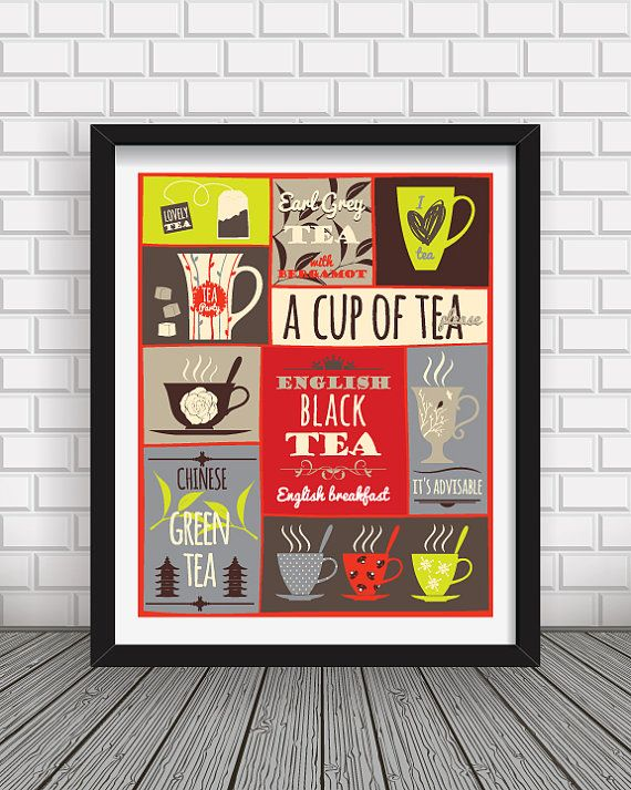 Cup of Tea print art,Tea time print,tea types,tea poster, modern tea print,wall print,tea time poster,wall decor,tea cup print,kitchen decor  ,,A cup of tea, please,, poster from BlackPelican  My kitchen art print designs are perfect wall art for your home living, kitchen art and office decoration. -------------------------------------------------------------------------------------------------- Available sizes: 5x7 in 8x10 in 11x14 in 12x16 in 16x20 in 18x24 in…
