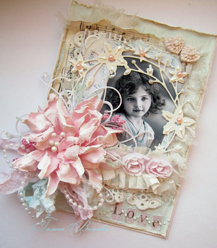 gorgeous shabby chic card with die cuts, handmade flower and vintage picture photo on.  beautiful...