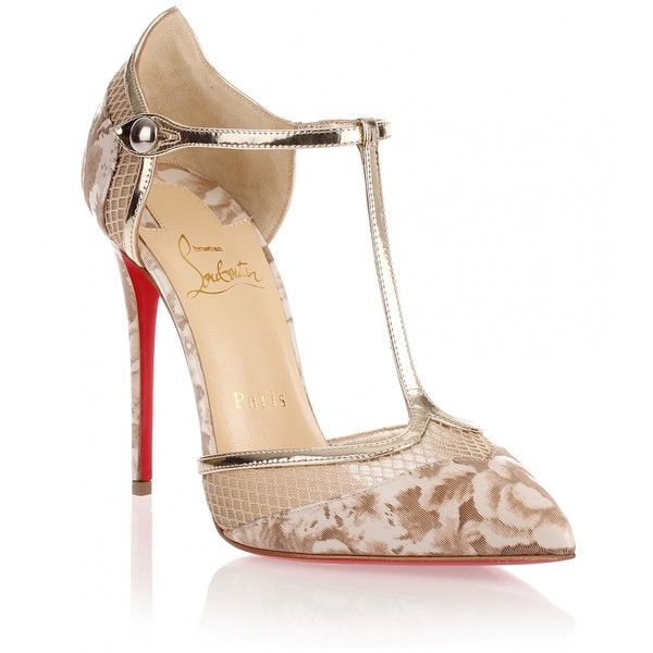 Christian Louboutin Mrs Early beige T-bar pump ($925) ❤ liked on Polyvore featuring shoes, pumps, heels, christian louboutin, beige, floral shoes, metallic shoes, christian louboutin pumps, metallic pumps and metallic heel pumps