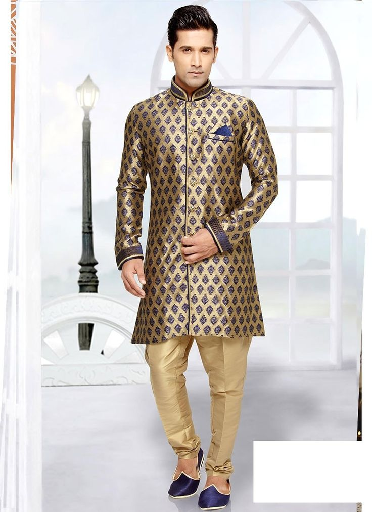 Shop Online Beige Blue Brocade Art Silk #MensSherwani @Chennaistore.com