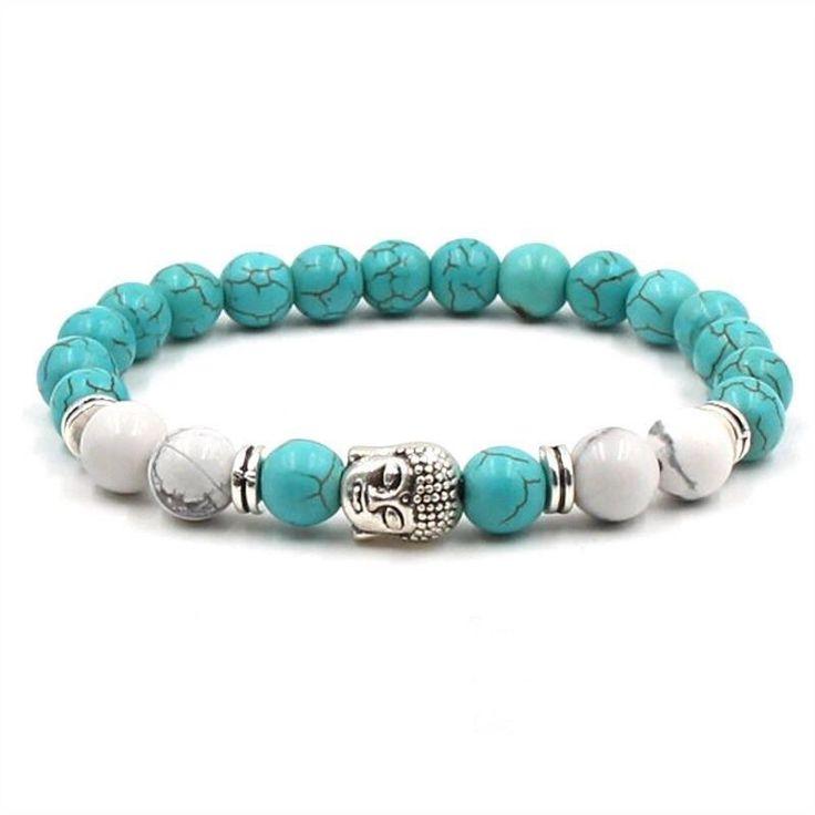 Sky Blue Stone Beaded Buddha Bracelet For Yogis