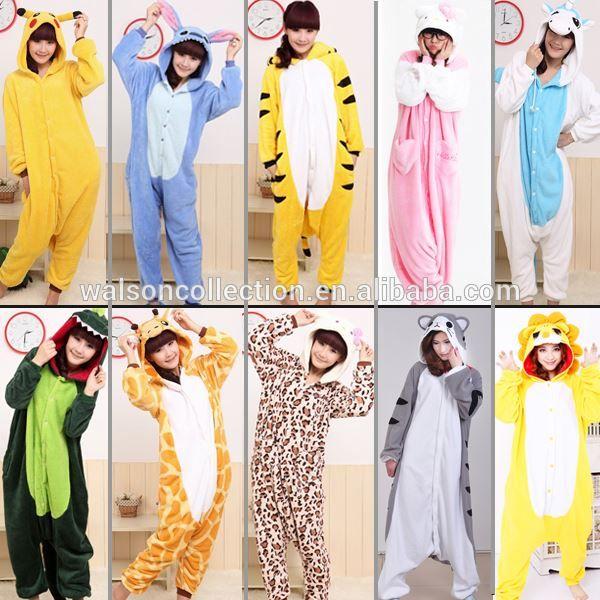 Cheapest Winter animal for Adult Onesie pajamas jumpsuit flannel adult pikachu Unicorn Cow Stitch pajama