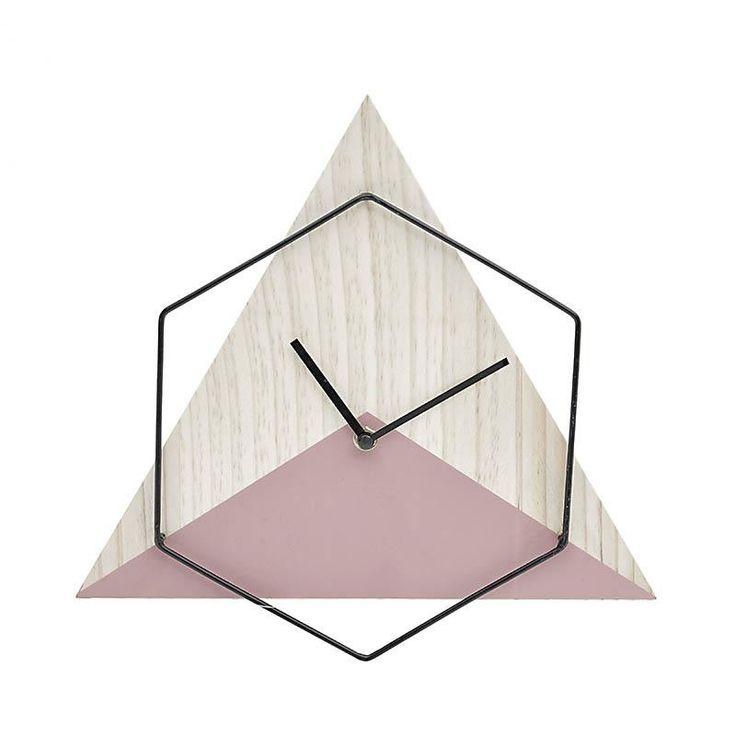 Ρολόι Τοίχου Ξύλινο Natural-Ροζ INART