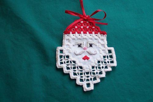 Hardanger Santa Ornament   eBay