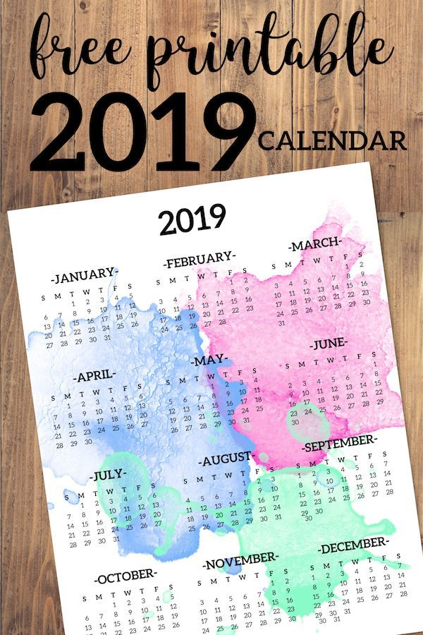 calendar 2019 printable one page watercolor free printable 2019 full year desk calendar on one page 2019 year at a glance